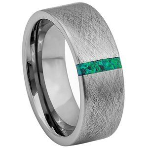 Green 8mm Tungsten Wedding Band Ice finish